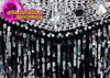 CHARISMATICO Black beaded silver sequinned leotard diva dress