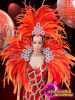 CHARISMATICO Bright orange feathered costume set with silver sequinned gown and backpack