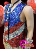 CHARISMATICO 4th of July sequinned red, blue and white vest and neck tie