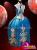 CHARISMATICO Blue Victoria silver sequinned show girl drag queen gown