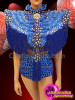 CHARISMATICO Blue fringes silver sequinned fringe diva show girl top and shorts