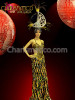 CHARISMATICO Bewitching Gold and Black Sequin Drag queen Gown and Moon Headdress Set