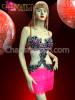 CHARISMATICO Black and Sliver Sequin Lace Embellished Pink Fringe Salsa Latin Dress