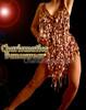 Brown GOLD SALSA DANCE V Neck Dress