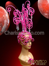 CHARISMATICO Pink Chandelier Diva Headdress with Clear Iridescent Sequins and Crystals