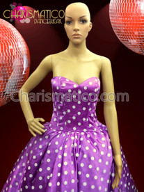 Tea-length 1950's Era Purple and White Polka Dot Monroe Dress