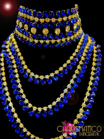 Collar Style Royal Blue Sapphire Crystal and Rhinestone Draped Necklace