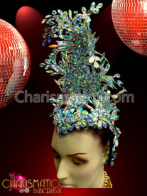 Cabaret Floorshow Petite Showgirl's Floral Style Iridescent Crystal Encrusted Headdress