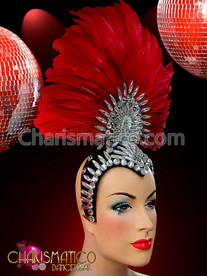 Fan-shaped Red Feather Headdress with Crystal Embellished Cap and Center