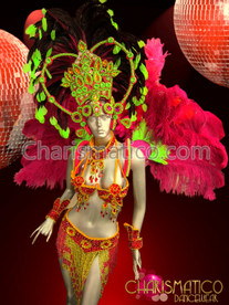 Neon Samba Carnival Costume Set with Headdress, Backpack, Bra, Belt