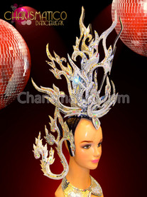 Petite Silver Mirror and Crystal Exotic Asian Flavored Showgirl's Headdress