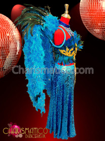 Feather Bra Arabian Style sequin skirt + Backpack in Blue and Gold