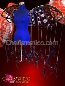 Black Glitter and Crystal Evil Halloween Devil's Wing Shoulder Backpack