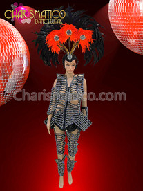 Futuristic Black Rhinestone Skeleton Costume with Leg and Arm Guards