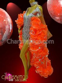 Silver Sequin Fringe Mini Dress with Orange Organza Ruffle-edge Cape set
