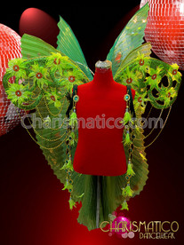 Triple-layered Green Wing Backpack with Pleated Organza and Golden Beadwork