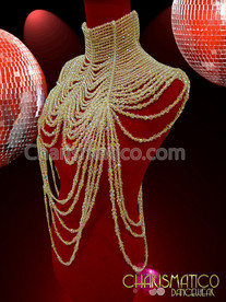 Large High Collar, Ribbon Closure, Diva Showgirl's Crystal Beaded Necklace