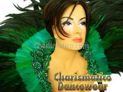 Emerald Cabaret Feather Showgirl Backpack