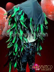 CHARISMATICO Male iridescent green feathered long sleeve crop top