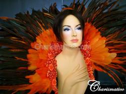Orange Cabaret Feather Showgirl Backpack