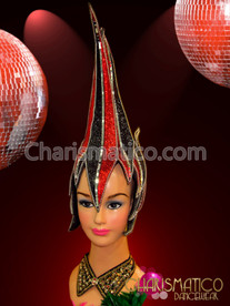 CHARISMATICO Red and black glitter covered and mirror edged diva's headdress