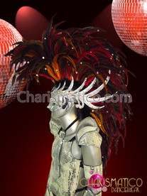 CHARISMATICO Fierce red feathered Mohawk drag queen or Male mirrored headdress