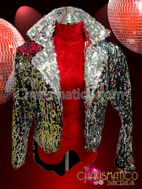 CHARISMATICO Ring master's classy Silver sequin covered satin tuxedo tail jacket