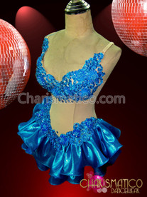 """CHARISMATICO Illusion """"two piece"""" all sky blue shimmer ruffle dance dress"""