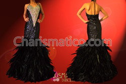 CHARISMATICO Black sequin and rhinestone pageant gown with ruffled feather skirt