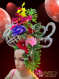 CHARISMATICO Asymmetrical fancy flower and cage wedding headdress with rhinestone accents