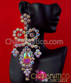 CHARISMATICO Large Diva  iridescent Swarovski crystal and rhinestone trim drop earrings