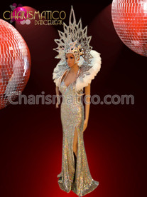 CHARISMATICO Silver sequin pageant gown with matching Headdress and backpack set