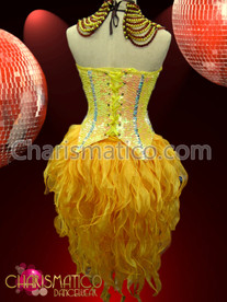 CHARISMATICO Burlesque long yellow corset, flame ruffled tail-skirt and beaded necklace