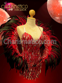 CHARISMATICO Diva's Red sequin fringe mini-dress with feathered back wheel backpack