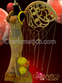 CHARISMATICO Golden Sheer pleated lace embellished pageant gown with matching wings