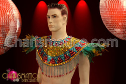 CHARISMATICO Six piece feather and sequin male exotic tribal carnival costume