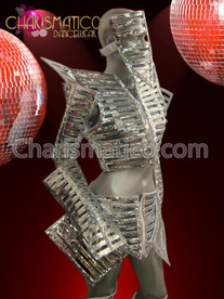 CHARISMATICO Lady Gaga inspired futuristic skeleton warrior costume in silver sequins