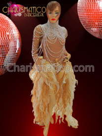 CHARISMATICO Large pearl Diva's necklace, sheer bejeweled bodysuit, and flame-ruffled tail-skirt