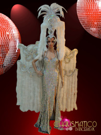 CHARISMATICO Silver Sequin Accented Snow White Feather Diva Showgirl Costume Set