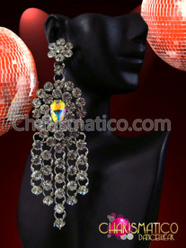 CHARISMATICO Stunning Rhinestone and Iridescent Crystal Waterfall Drop Drag Queen's Earrings