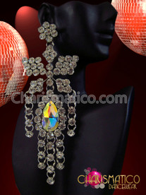 CHARISMATICO Large Butterfly Rhinestone and Iridescent Crystal Drop Drag Queen Earrings