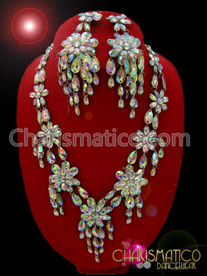 CHARISMATICO Floral Patterned Iridescent V-shaped Necklace and Matching Chandler Earrings