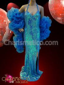 CHARISMATICO Sleek blue sequin pageant gown with matching organza ruffled boa