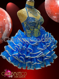 CHARISMATICO Corset-styled Blue and Silver Sissy Dress with tiered ruffle skirt