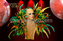 CHARISMATICO Yellow, Orange, and Green Diva Drag Queen Feather Collar Backpack