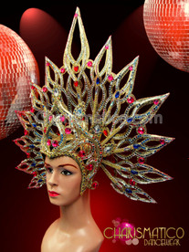 CHARISMATICO Pink and sapphire crystal accented golden glitter sunburst diva's headdress