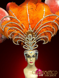CHARISMATICO Rhinestone and Iridescent Crystal accented Orange Diva Showgirl's Ostrich Headdress