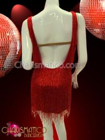 CHARISMATICO Diva's shimmery string red fringe covered Latin salsa dance dress