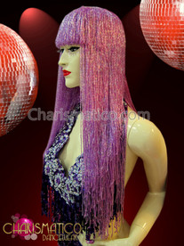 CHARISMATICO Lush iridescent purple seed beaded Cher inspired blunt cut wig