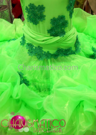 CHARISMATICO Slinky curvaceous Neon Green Drag Queen Diva's fluffy tutu dress